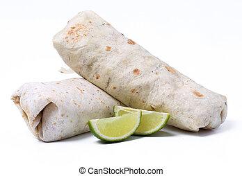 Delicious burrito on a white background