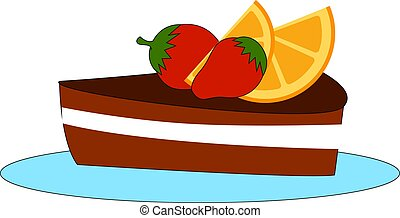 Delicious cake, illustration, vector on white background.