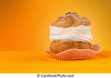 Delicious cake on colorful background with copyspace - Close...