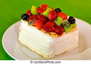 Delicious cake slice - Delicious cake slice on plate on...