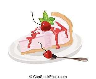 Delicious cake with cherries dessert