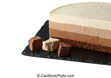 Delicious cake with three different kind of chocolate