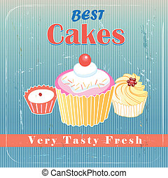 delicious cakes - Billboard best cakes on vintage aged...