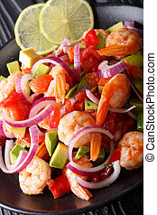 Delicious ceviche of shrimp with vegetables, spices and lime...