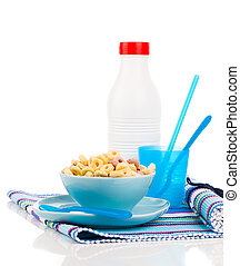 Delicious Cheerios Oat Cereal in bowl with bottle milk