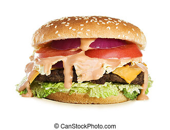 Delicious Cheeseburger - Stock image of Classic...