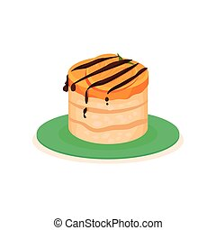 Delicious cheesecake with persimmon slice and chocolate sauce. Tasty fruit dessert on green plate. Flat vector design