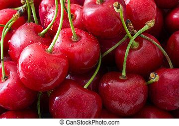 Delicious cherries background