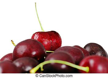 Delicious cherries focus on top one