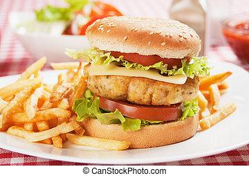 Delicious chicken burger