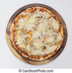 Delicious chicken pizza on white