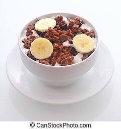 Delicious chocolate breakfast cereal with banana