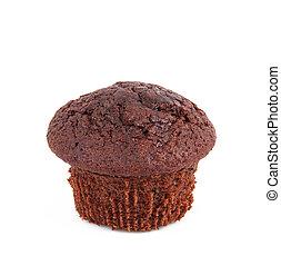 chocolate cake on white background