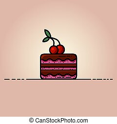Delicious chocolate cake with a cherry on top flat illustration