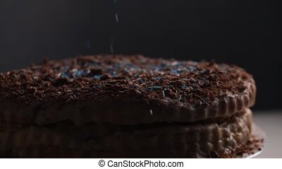 Delicious chocolate cake with topping