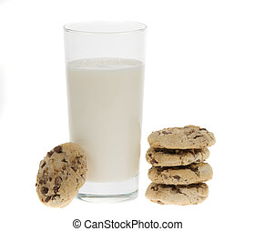 delicious chocolate chip cookies and glass of milk isolated on a white background