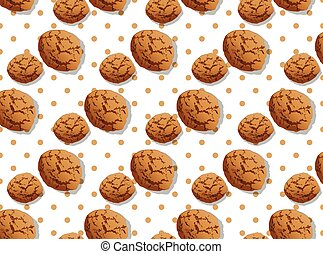 delicious chocolate chip cookies pattern vector