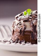panacotta - delicious chocolate panacotta close up