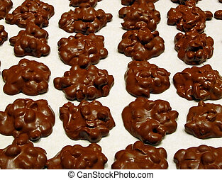Delicious Chocolate Peanut Clusters being prepared for a Bake Sale.