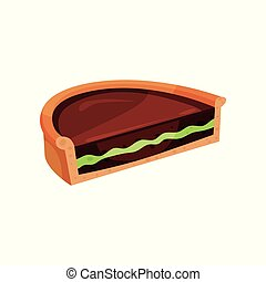 Delicious chocolate pie with green filling. Half of tasty tart. Confectionery product. Flat vector for promo poster or flyer of pastry shop
