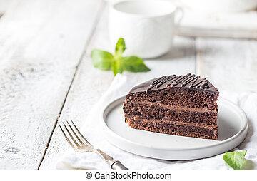 Delicious chocolate Prague cake