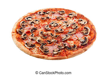 Delicious classic italian Pizza Carbonara with bacon, sausages tomatoes, mushrooms and cheese
