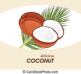 Delicious coconut. Label for design. Vector illustration