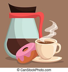 delicious coffee cup and donuts