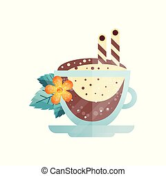 Delicious coffee drink with drinking straws, orange flower and green leaves. Grass cup of tasty cappuccino. Flat vector design for cafe or restaurant
