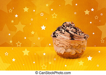 Delicious colorful cake with star shapes on background -...