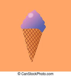 Delicious colorful ice cream in waffle cone isolated on orange background. Vector illustration for web design or print