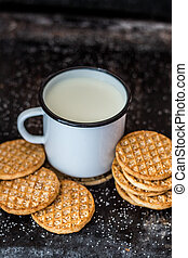 Delicious cookies and a cup of milk