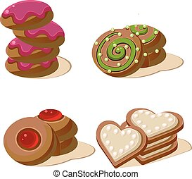 Delicious Cookies. Set of Cartoon Vector Icons.