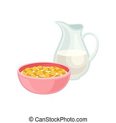 Delicious corn flakes in pink bowl and fresh milk in glass jug. Tasty meal. Healthy breakfast. Flat vector design