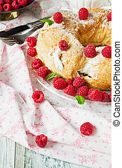 cake with fresh raspberries