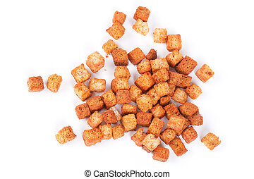 Delicious croutons isolated - Close up of delicious croutons...