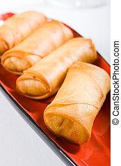 golden spring rolls - delicious crunchy golden spring rolls...
