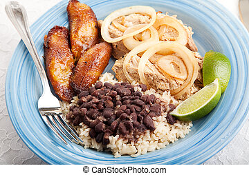 Delicious Cuban Dinner - Cuban dinner, consisting of roast...