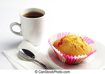 Delicious cupcake and coffee