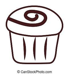 delicious cupcake, line style icon