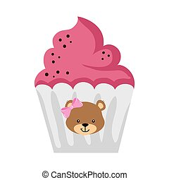delicious cupcake with face of bear female