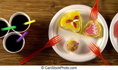 Delicious cupcakes with drinks. - Delicious cupcakes with...
