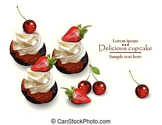 Delicious cupcakes with strawberry and cherry Vector