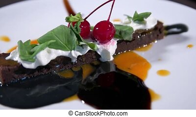 Delicious dessert with fresh cherries