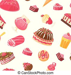 Delicious Desserts Seamless Pattern, Jelly, Cake, Cupcake, Donut Vector Illustration