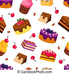 Delicious Desserts Seamless Pattern with Tasty Sweets, Design Element Can Be Used for Fabric, Wallpaper, Packaging Vector Illustration