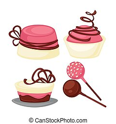 Delicious desserts with chocolate and strawberry jam set....