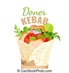 Delicious doner kebab full of vegetables and chicken -...