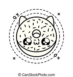 delicious donut with face cat in frame circular kawaii style