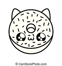 delicious donut with face cat kawaii style
